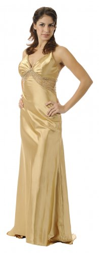 Gold Dress Formal Gown Exotic Beaded Design In Front and Back Gold | DiscountDressShop.com 5678PO