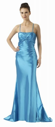 Turquoise Dress Turquoise Formal Gown Detailed Beads Bridesmaid Gown | DiscountDressShop.com 5686PO