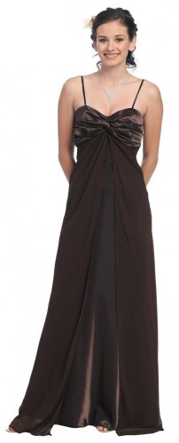 Dark Brown Formal Dress Spaghetti Strap Brown Military Ball Gown | DiscountDressShop.com 702SB