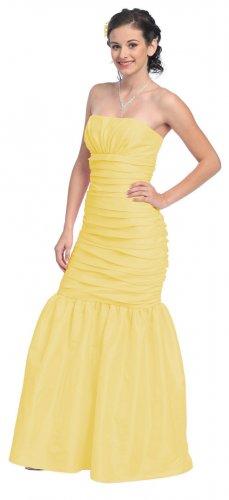 Cheap Strapless Yellow Formal Dress Mermaid Cut Prom Gown Military   DiscountDressShop.com 805SB