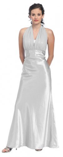 Cheap Silver Formal Dress Halter Rhinestone Silver Prom Bridesmaid | DiscountDressShop.com 807SB