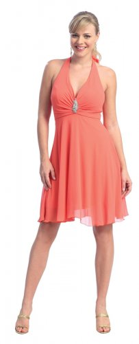 Cheap Sexy Short Halter Orange Cocktail Dress Night Club Party Dress | DiscountDressShop.com 2115NX