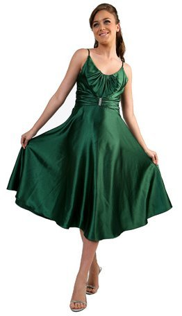 Green Graduation Dress Tea Length Satin Prom Gown Green Bridesmaid | DiscountDressShop.com 085CD