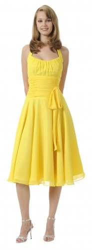 Cheap Yellow Graduation Dress Halter With Bow Yellow Party Dress | DiscountDressShop.com 2912PO