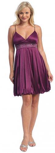 Plum Bubble Dress Cheap Knee Length Plum Cocktail Plum Prom Dresses | DiscountDressShop.com 2008CE