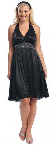 Black Dress Cheap Halter Knee Length Black Cocktail Dress Black Prom   DiscountDressShop.com 2055CE