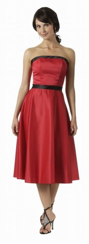 Cheap Strapless Red with Black Trim Formal Cocktail Dress Bridesmaid | DiscountDressShop.com 2752PO