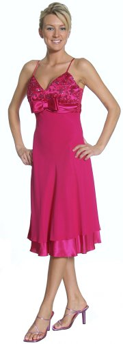 Elegant Fuchsia Cocktail Dress Spaghetti V Neckline Party Prom Gown | DiscountDressShop.com 2137JU