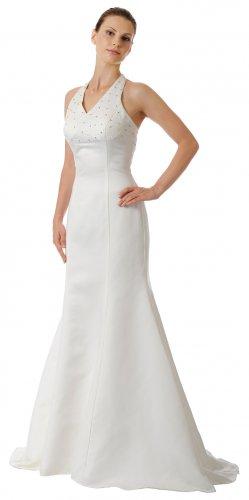 White Formal Evening Dress Halter Dress With V Neckline White Prom | DiscountDressShop.com 5454PO