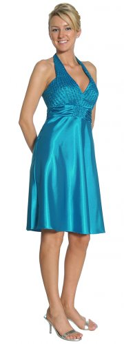 Cheap Short Turquoise Dress Halter Accented With Sequins Turquoise | DiscountDressShop.com 2116JU