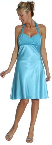 Short Turquoise Bridesmaid Dress Turquoise Prom Gown Halter Strap | DiscountDressShop.com 2164JU