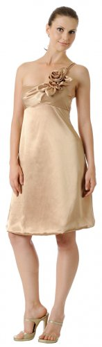 Short Gold Prom Dress Gold Cocktail Dress One Shoulder Strap Flower   DiscountDressShop.com 2878PO
