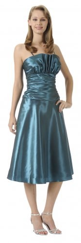 Teal Dress Tea Length Empire Waist Taffeta Teal Bridesmaid Dress | DiscountDressShop.com 2900PO