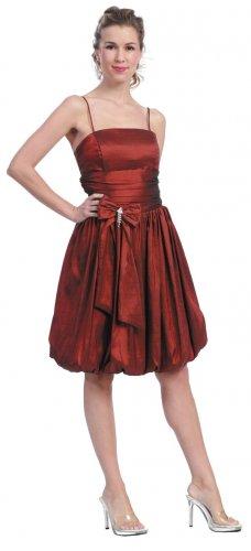 Rust Bubble Dress Cocktail Bridesmaid Rust Prom Dress Plus Size Gown | DiscountDressShop.com 615SB