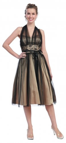Cheap Gold Prom Dress Halter Style Gold Party Dress Cocktail Gown | DiscountDressShop.com 621SB