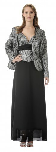 Black Silver Mother of the Bride/Groom Lace Dress With Jacket Black | DiscountDressShop.com 2936PO
