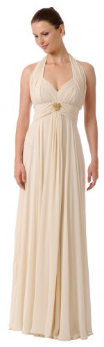 Taupe Mother of the Bride/Groom Dress Halter Gown Taupe Formal Dress | DiscountDressShop.com 5656PO
