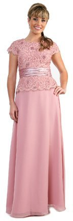 Dusty Rose Mother of the Bride Groom Dress Embroidered Lace Top Gown | DiscountDressShop.com 8330CD