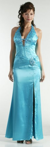 Sexy Turquoise Prom Dress Halter Formal Turuoise Pageant Open Slit | DiscountDressShop.com 1017CD