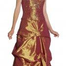 Rust Gold Strapless Formal Rust Gold Pageant Dress Prom Dress Gold   DiscountDressShop.com 1052JU