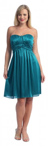 Cheap Rhinestone Teal Dress Cocktail Party Teal Prom Dress Teal Gown | DiscountDressShop.com 2034S-C