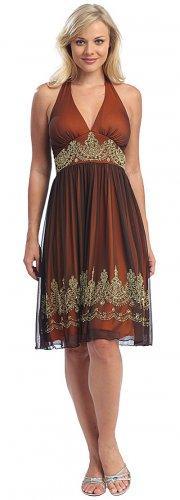 Cheap Brown Orange Dress Empire Waist Dress Cocktail Party Prom Gown | DiscountDressShop.com 6041CE