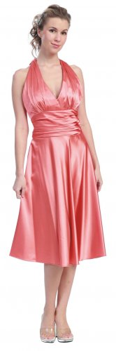 Coral Dress Halter Knee Length Coral Dress Coral Cocktail Prom Dress | DiscountDressShop.com 607SB