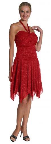 Metallic Red Party Dress Red Cocktail Dress Sparkly Short Knee Dress | DiscountDressShop.com 2072JU