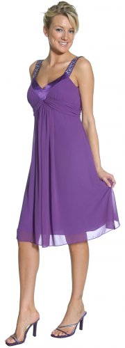 Short Purple Dress Knee Length With Silver Stones Purple Cocktail | DiscountDressShop.com 2160JU