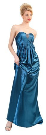 Plus Size Teal Prom Dress Strapless Long Satin Plus Bridesmaid Dress | DiscountDressShop.com 0211CD
