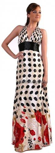 Mori Lee Polka Dot Flower Print Dress Formal Halter Prom Dress | DiscountDressShop.com 150CD