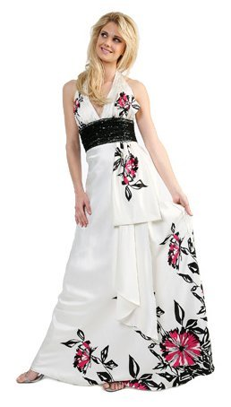 Cheap White Floral Print Dress Halter Prom Bridesmaid Formal Dress | DiscountDressShop.com 1107CD