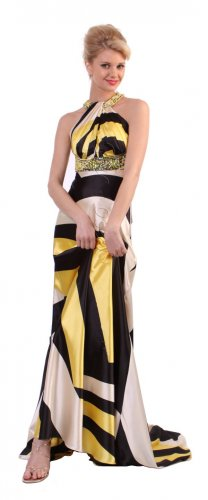 Yellow Black White Print Formal Prom Dress With Open Back Print Gown | DiscountDressShop.com 175CD