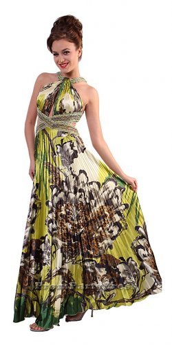 Cheap Green Flower Print Prom Dress Formal Open Back | DiscountDressShop.com 180CD