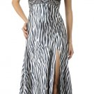Zebra Animal Print Dress Discount Long Halter Formal Gown Open Slit | DiscountDressShop.com 5712PO