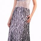 Zebra Print Animal Prom Gown Halter Cross Back Bead Formal Dress | DiscountDressShop.com 9010CD