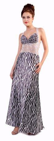 Zebra Print Animal Prom Gown Halter Cross Back Bead Formal Dress | DiscountDressShop.com 9010CD