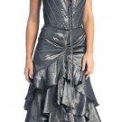 Metallic Silver Formal Dress Strapless Silver Prom Dress Bridesmaid   DiscountDressShop.com 1077NX