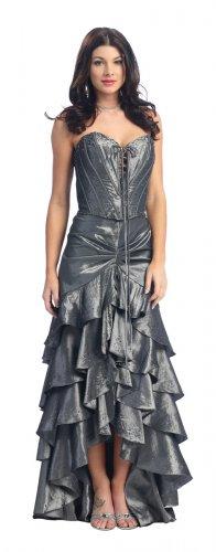 Metallic Silver Formal Dress Strapless Silver Prom Dress Bridesmaid | DiscountDressShop.com 1077NX