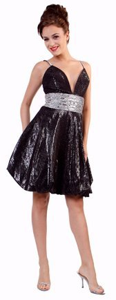Shimmery Black Prom Dress Short Bubble Cocktail Dress Empire Waist | DiscountDressShop.com 1093CD