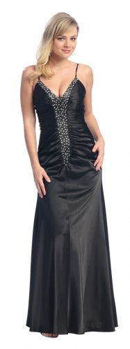Elegant Silver Prom Gown Spaghetti Strap Formal Dress Silver Gown | DiscountDressShop.com 1100NX