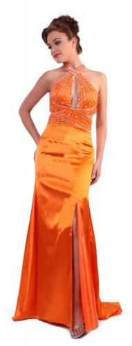 Cheap Sexy Orange Cocktail Dress Prom Formal Halter Criss-Cross Back   DiscountDressShop.com 1102CD