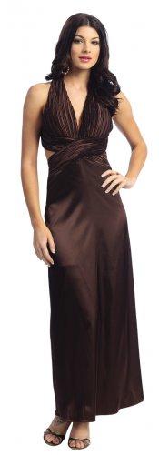 Discount Brown Prom Dress Beaded Halter Brown Formal Dress Brown   DiscountDressShop.com 1106NX