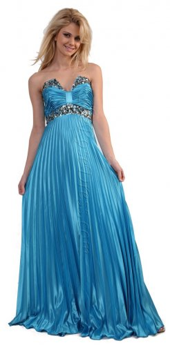 Strapless Turquoise Pleated Formal Dress Party Prom Dress Turquoise | DiscountDressShop.com 129CD