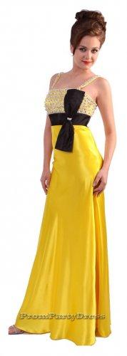 Rhinestone Strap Yellow Formal Dress Black Bow Party Prom Dresses   DiscountDressShop.com 135CD