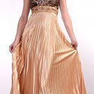Gold Pleated Leopard Animal Print Formal Dress Party Prom Dress Gold | DiscountDressShop.com 141CD