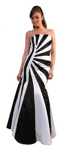 Sexy Black White Prom Dress Long strapless Satin Formal Gown Black | DiscountDressShop.com 143CD