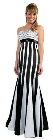 Black White Stripe Prom Dress Sweetheart Neckline Strapless Gown | DiscountDressShop.com 144CD