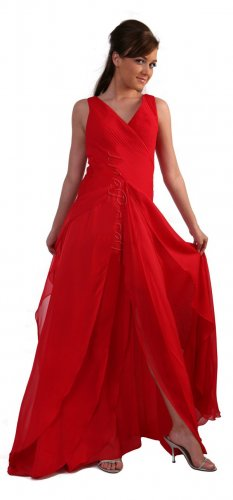Cheap Elegant Red Prom Dress Red Formal Dress Multiple Open Layers | DiscountDressShop.com 147CD