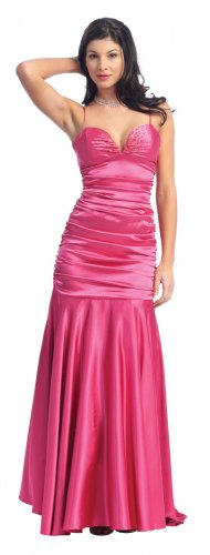 Spaghetti Strap Fuchsia Formal Dress Mermaid Style Fuchsia Dress | DiscountDressShop.com 2136NX